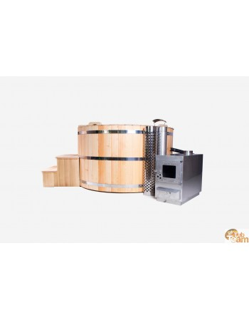 Spa en bois de mélèze avec chauffage externe en acier inoxydable